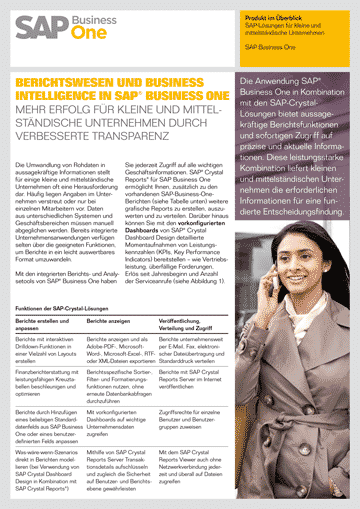 SAP Business One Crystal Reports Berichtswesen und Business Intelligence