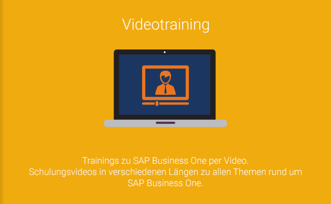 Videotraining - Trainings zu SAP Business One per Video. Schulungsvideos in verschiedenen Längen zu allen Themen rund um SAP Business One.