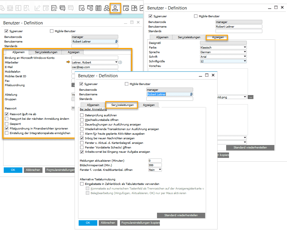 SAP Business One Version 9.3 - Administration - Persönliche Systemeinstellungen