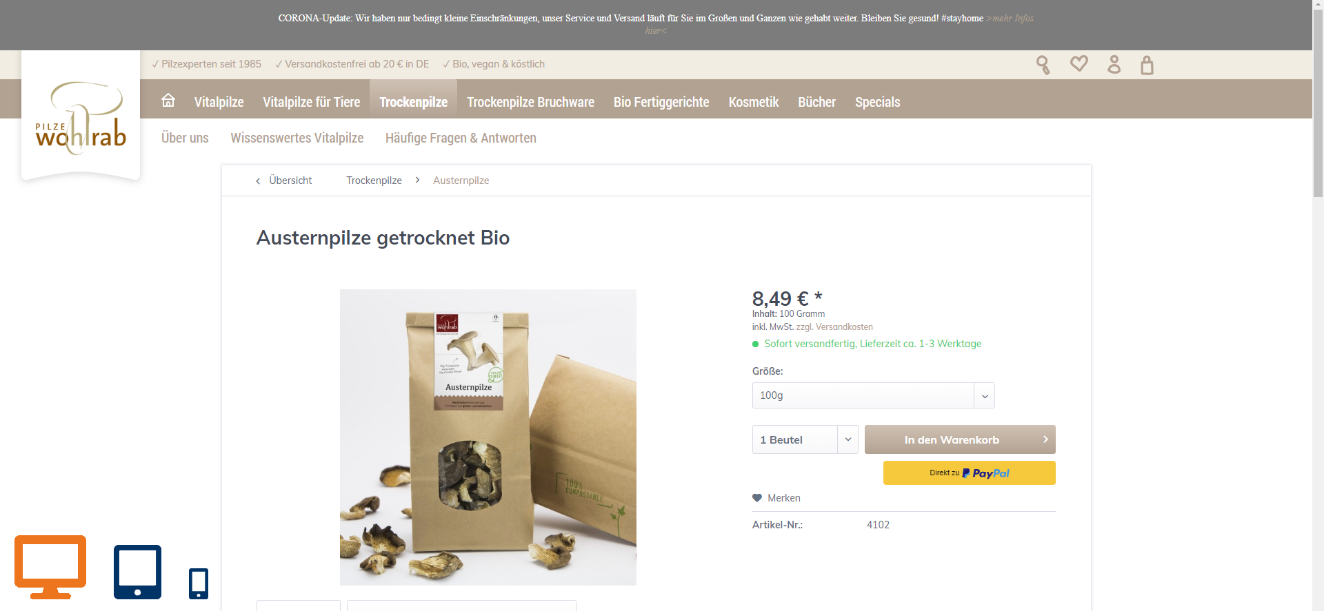 SAP-Business-One_E-Commerce_Pilze-Wohlrab_Shop_Desktop